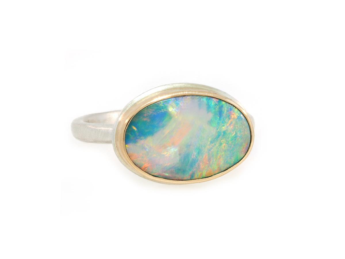 Jamie Joseph Jewelry Designs Oval Australian Opal Bezel Ring