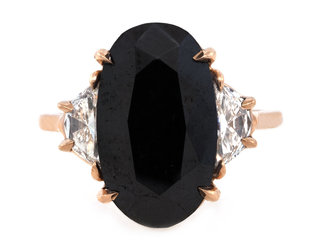 Trabert Goldsmiths 7.27ct Black Diamond Dark Moon Ring E1951