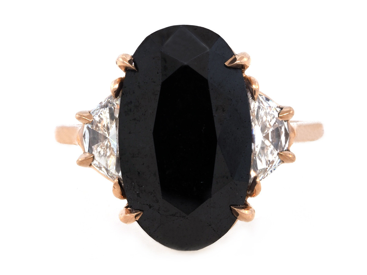 Trabert Goldsmiths 7.27ct Black Diamond Dark Moon Ring