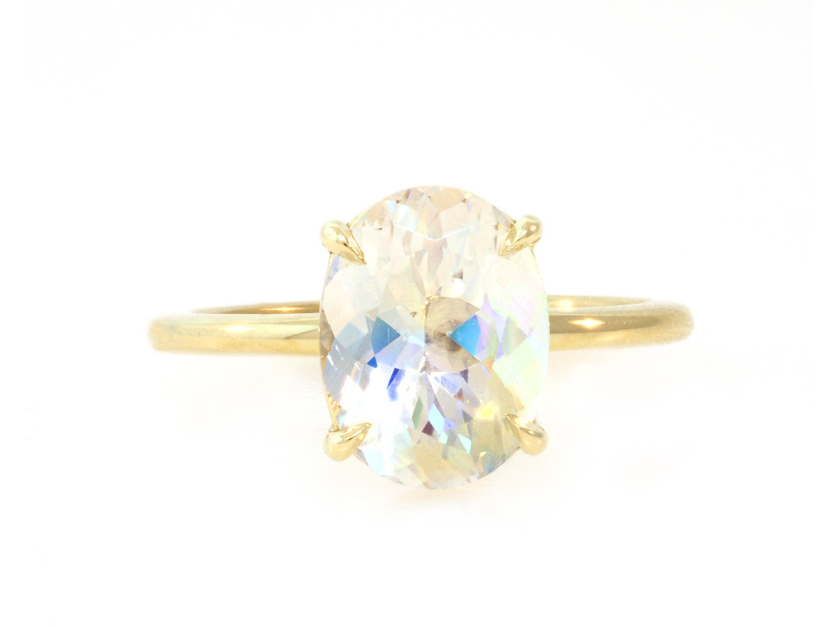 Trabert Goldsmiths 2.25ct Oval Rainbow Moonstone Aura Ring