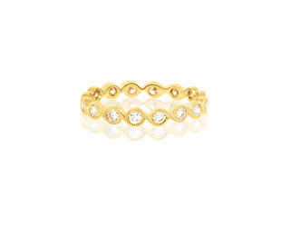 Beverley K Collection Diamond Twist Yellow Gold Band AB482