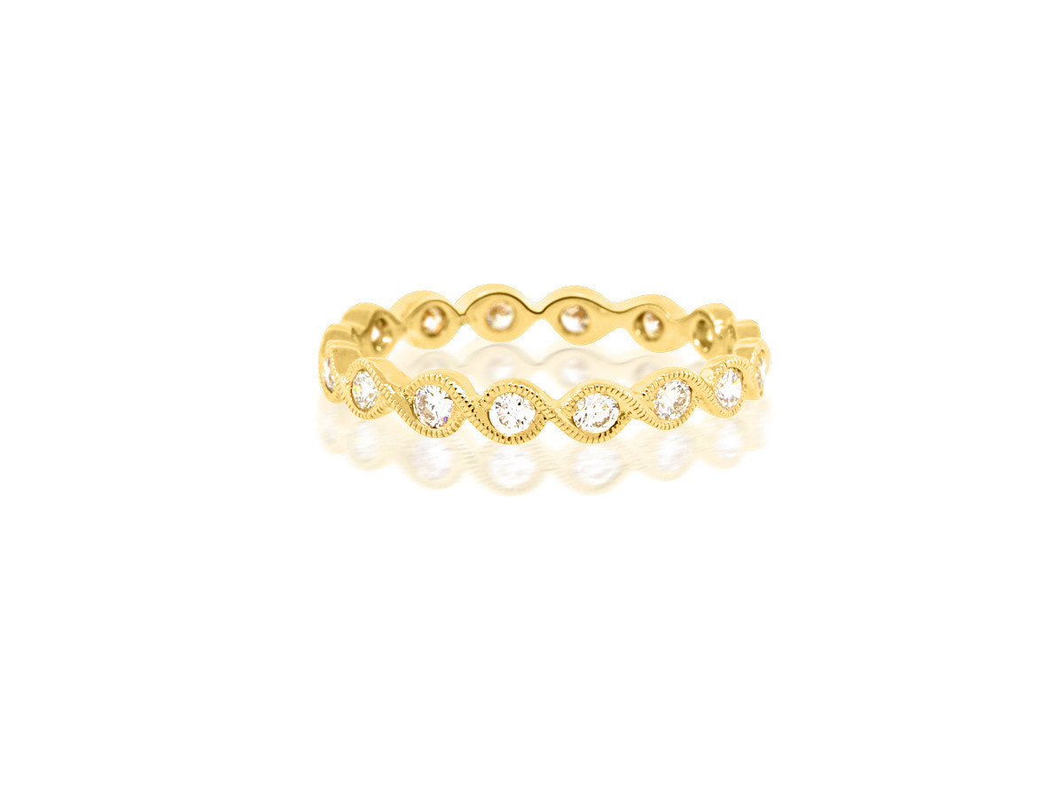 Beverley K Collection Diamond Twist Yellow Gold Band