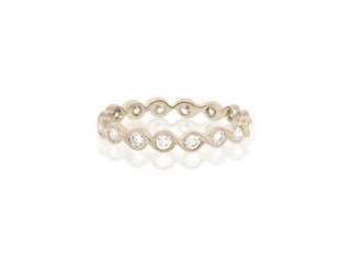 Beverley K Collection Diamond Twist White Gold Band AB483
