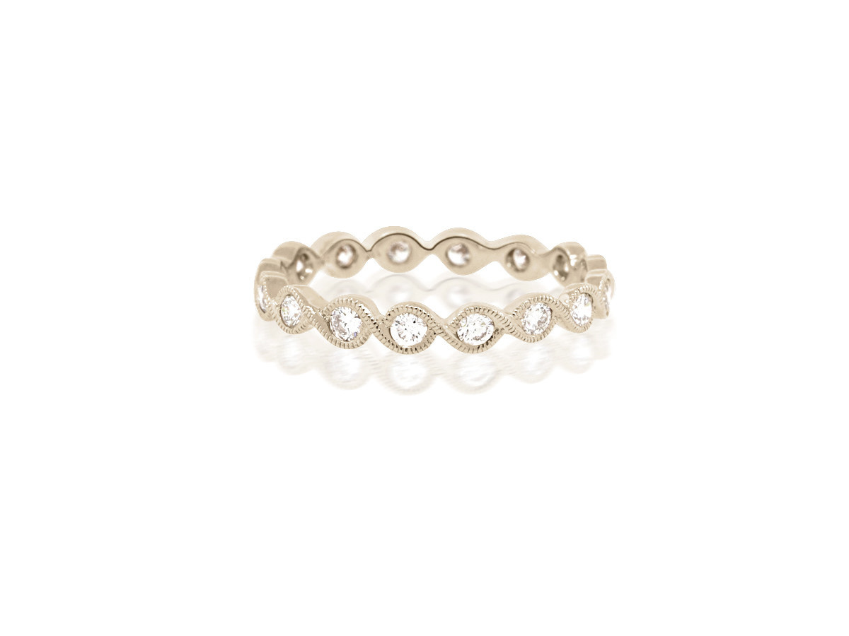 Beverley K Collection Diamond Twist White Gold Band