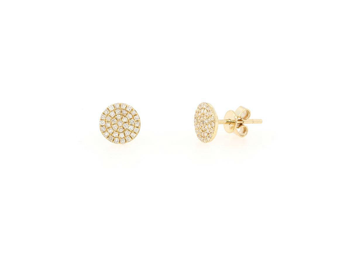 Yellow Gold Pave Diamond Disc Stud Earrings