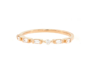 Trabert Goldsmiths Petite Baguette Rose Gold Half Band E1937
