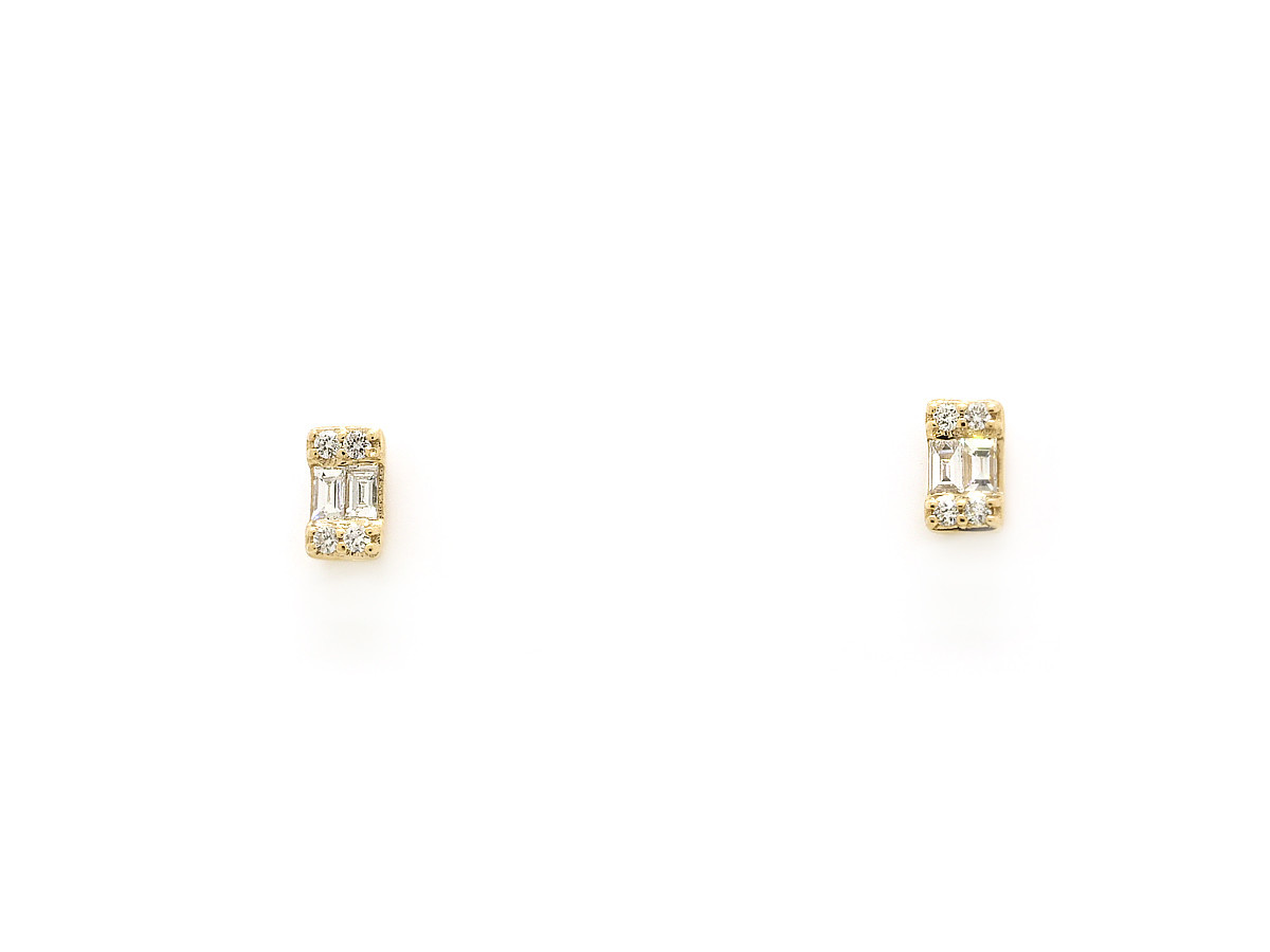 Trabert Goldsmiths Baguette Diamond Emerald Gold Studs