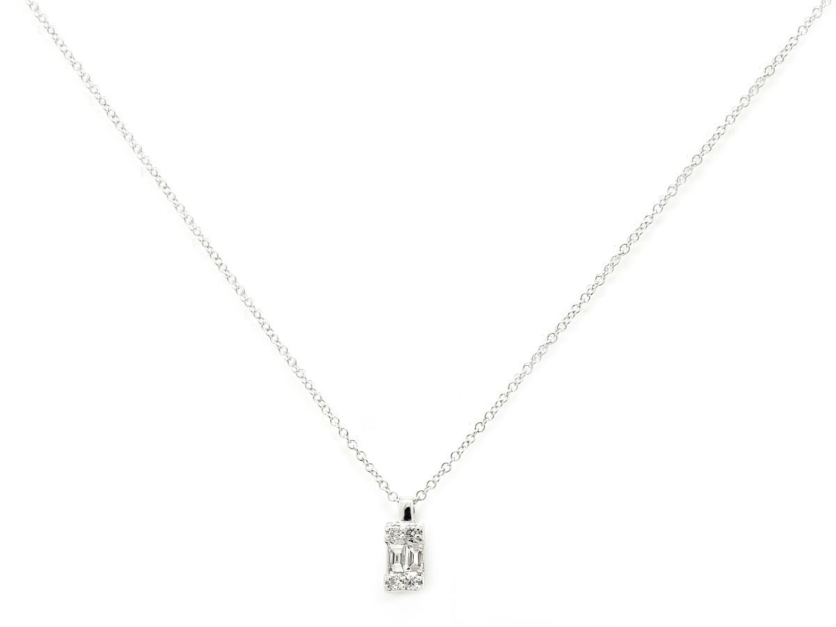 Trabert Goldsmiths Emerald Shape Baguette Diamond Necklace