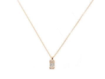 Trabert Goldsmiths Emerald Shape Diamond Gold Necklace E1927