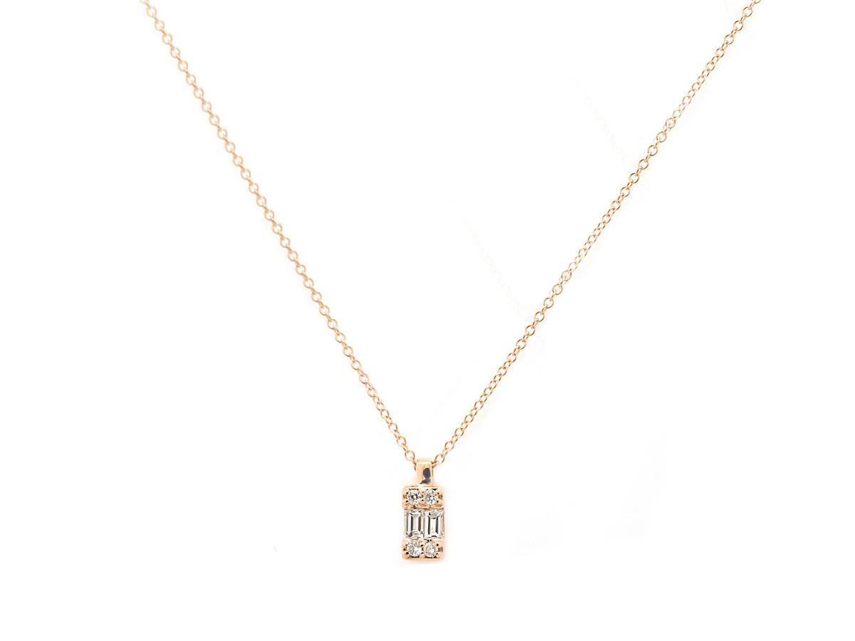 Trabert Goldsmiths Emerald Shape Diamond Gold Necklace