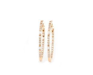 Trabert Goldsmiths Baguette and Round Diamond Rose Gold Hoops E1934