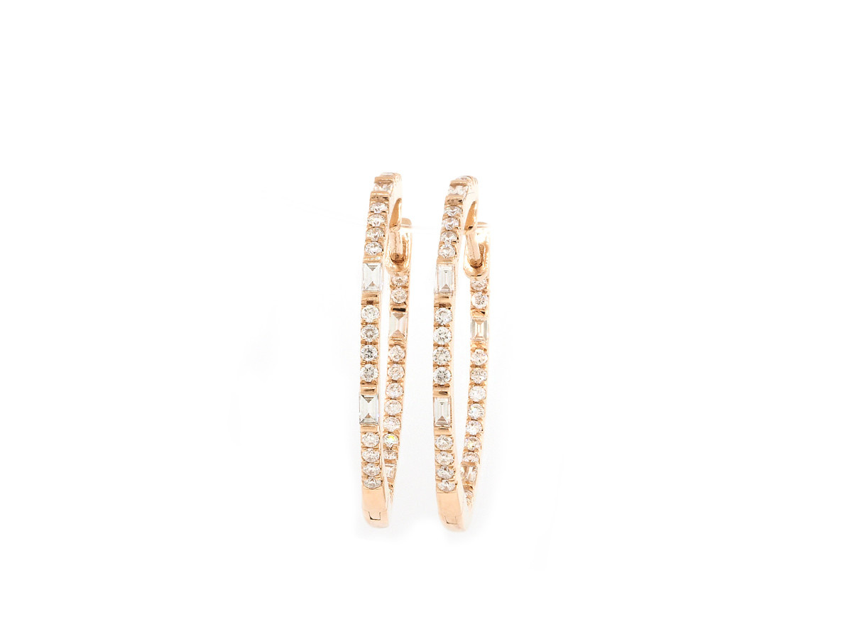 Trabert Goldsmiths Baguette and Round Diamond Rose Gold Hoops