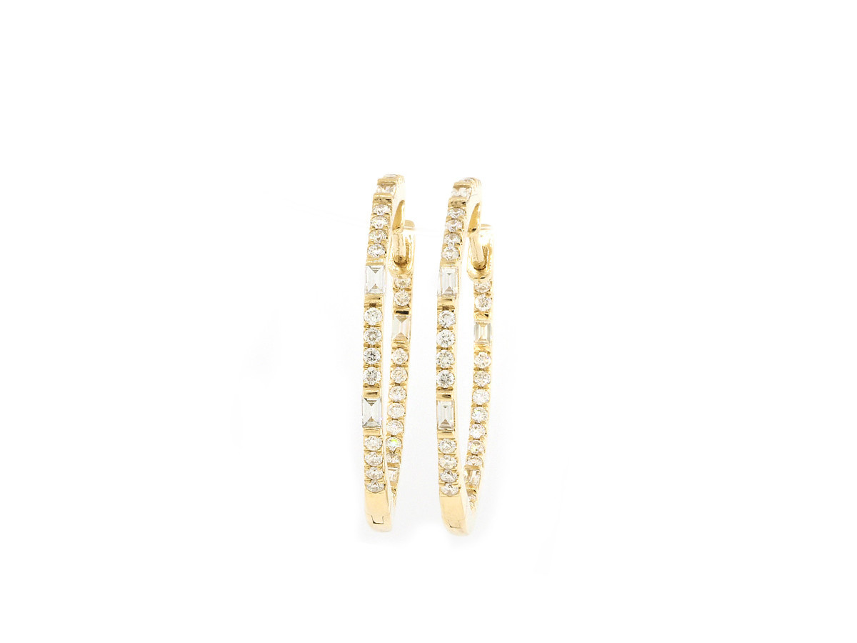 Trabert Goldsmiths Baguette and Round Diamond Gold Hoops