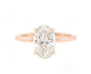 Trabert Goldsmiths 2.01ct FSI1 Oval Diamond Aura Ring E1742