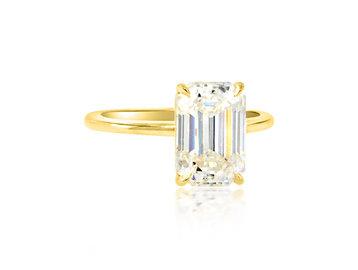 Trabert Goldsmiths 3.25ct Emerald Cut Moissanite Aura Ring E1953