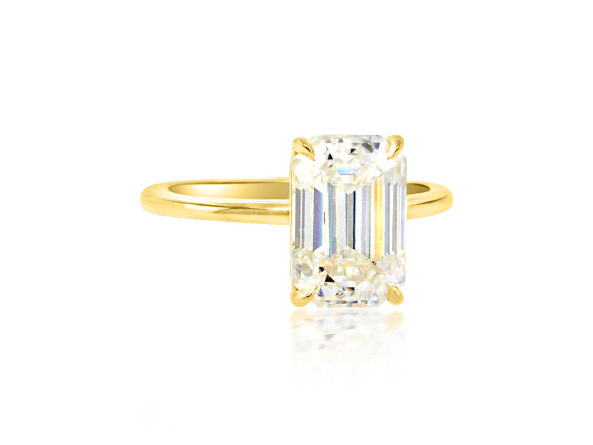 Trabert Goldsmiths 3.25ct Emerald Cut Moissanite Aura Ring