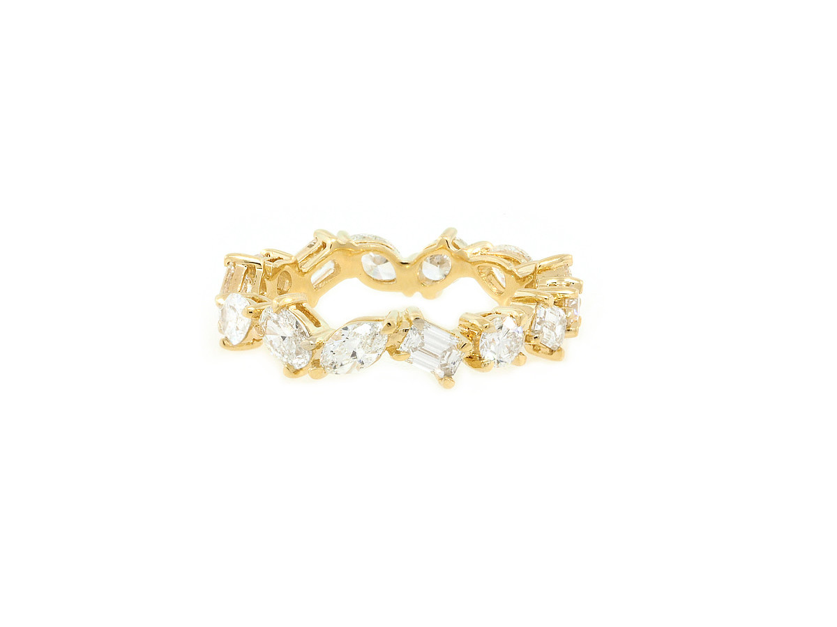 Trabert Goldsmiths 1.86ct Mixed Diamond Tribeca Eternity Ring