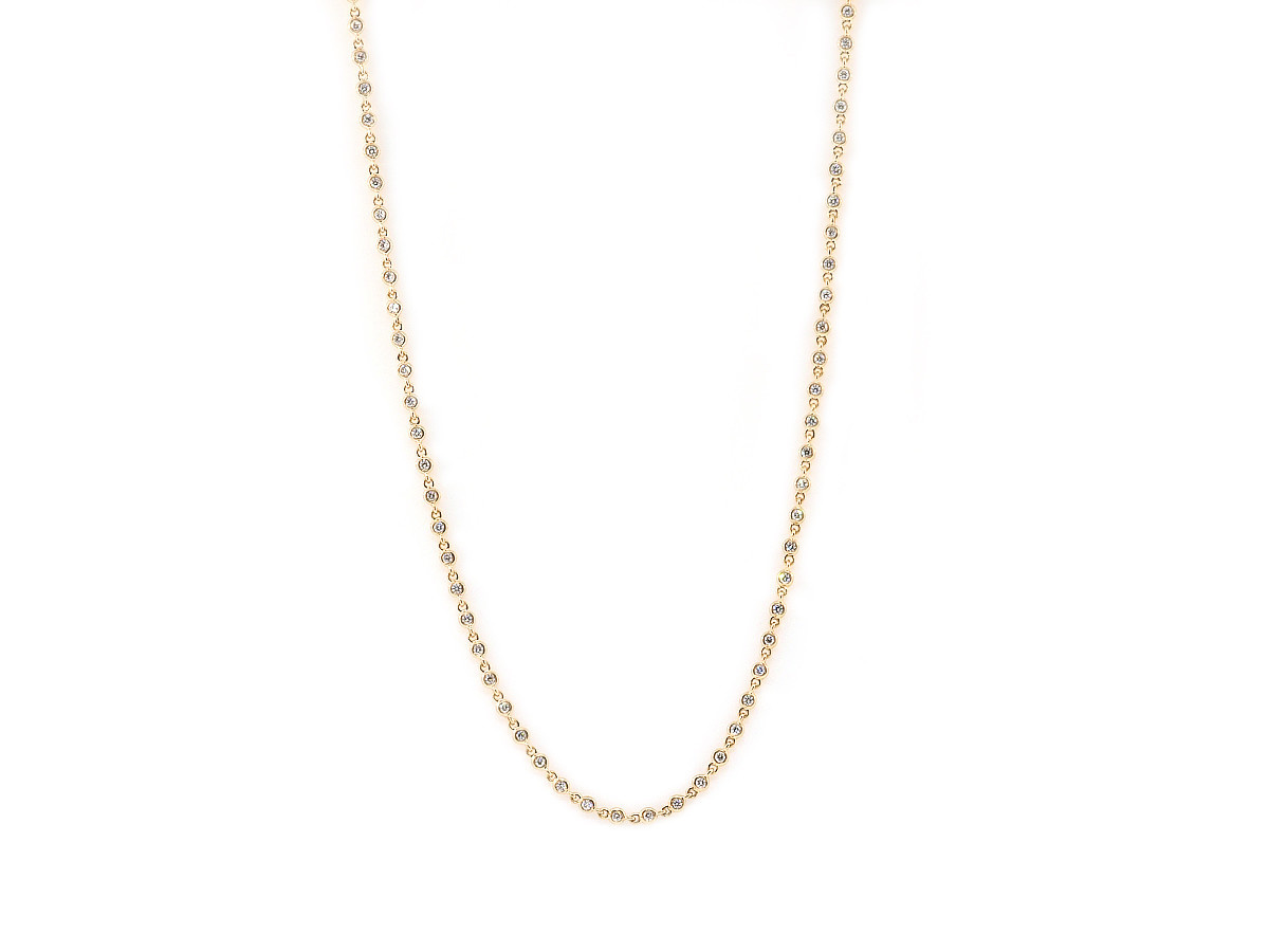 Trabert Goldsmiths Baby Bezel Diamond Gold Necklace