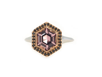 Trabert Goldsmiths Stargazer Spinel & Black Diamond Ring E1966