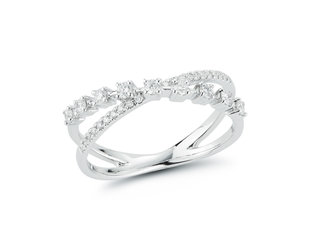 Dana Rebecca Ava Bea Cross Over Diamond White Gold Ring DR33