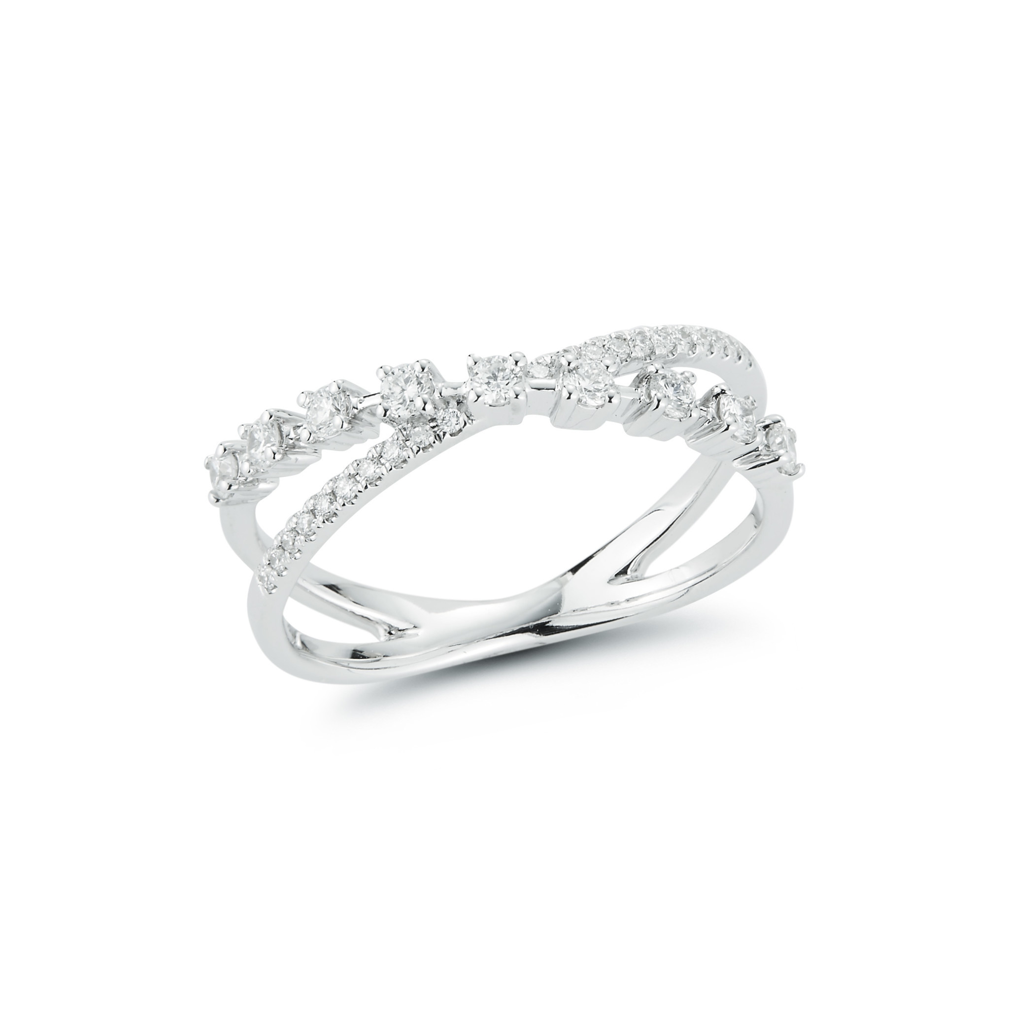 Dana Rebecca Ava Bea Cross Over Diamond White Gold Ring