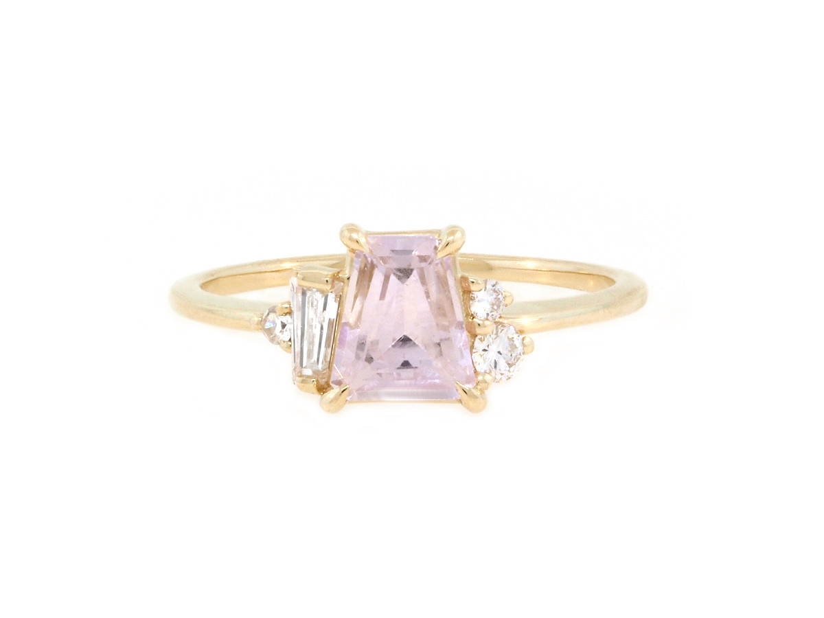 Trabert Goldsmiths 'Peony' Pink Sapphire Yellow Gold Ring
