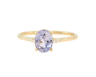 Trabert Goldsmiths 'Lilac' Blue Oval Sapphire Yellow Gold Ring E2004