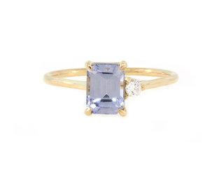 Trabert Goldsmiths 'Lavender' Emerald Sapphire Yellow Gold Ring E2002