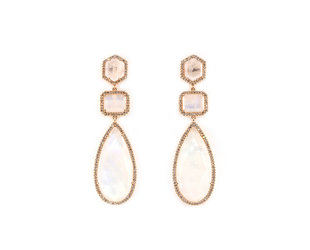 Liven Multi Shape Rainbow Moonstone Drop Earrings LN78