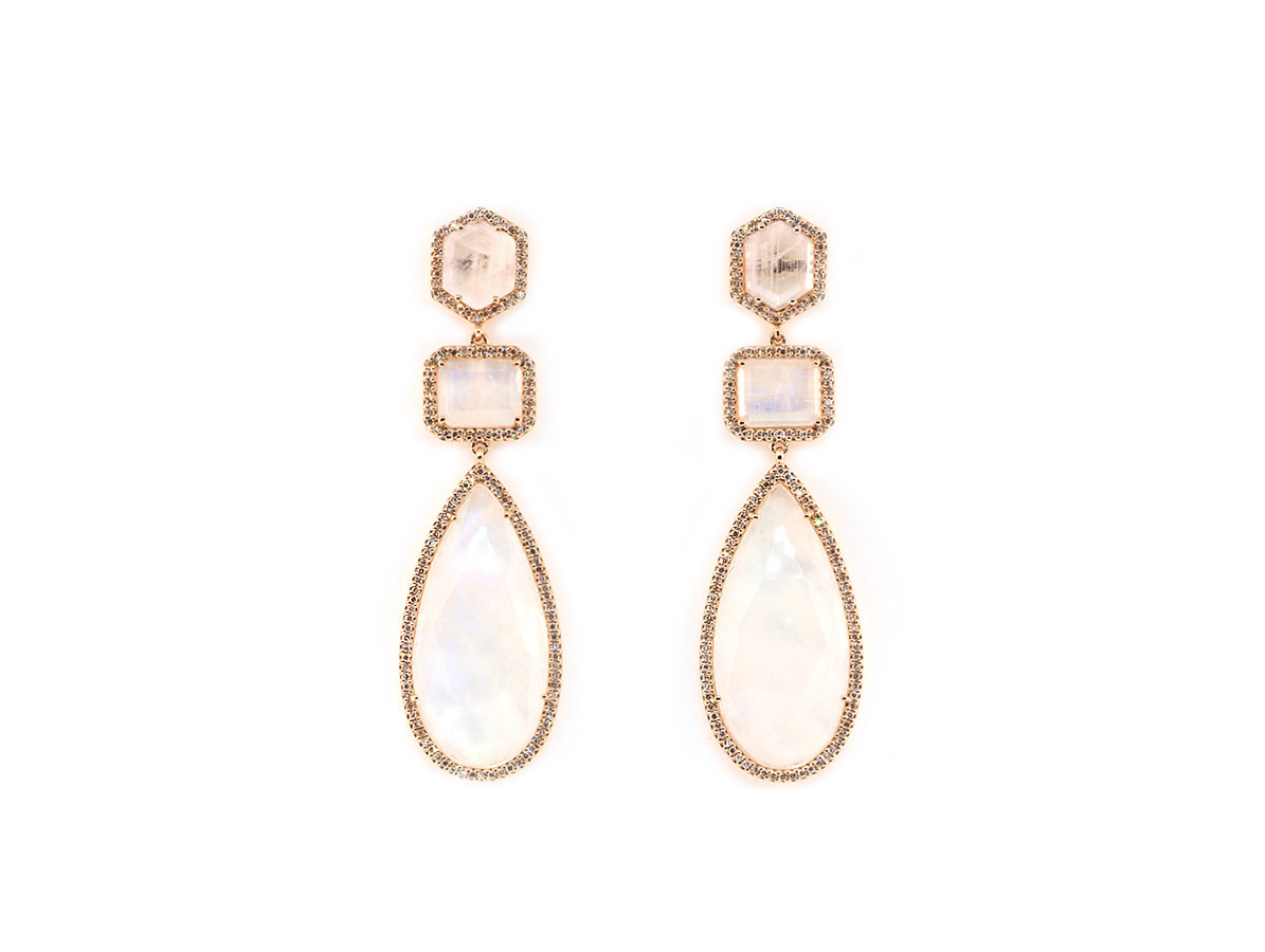 Liven Multi Shape Rainbow Moonstone Drop Earrings
