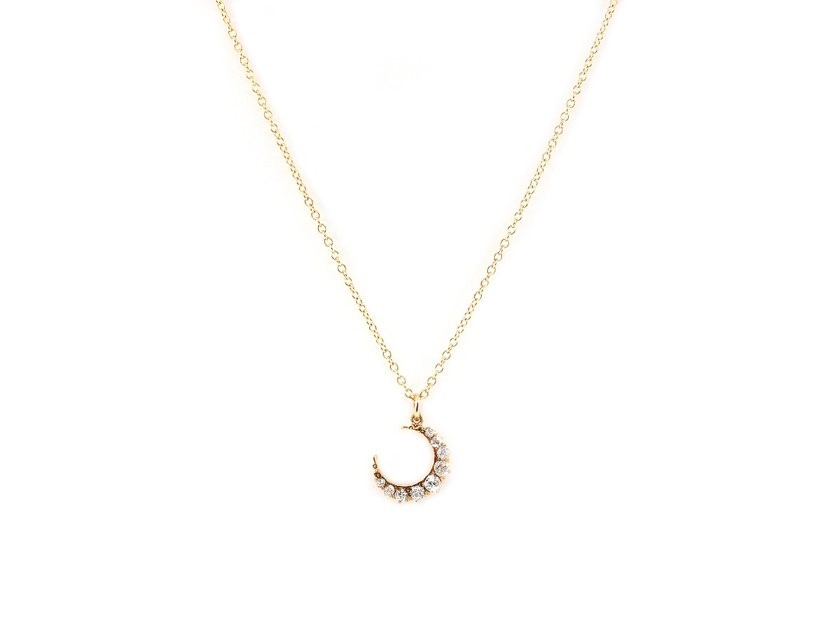 Trabert Goldsmiths Vintage Diamond Crescent Moon Yellow Gold Pendant