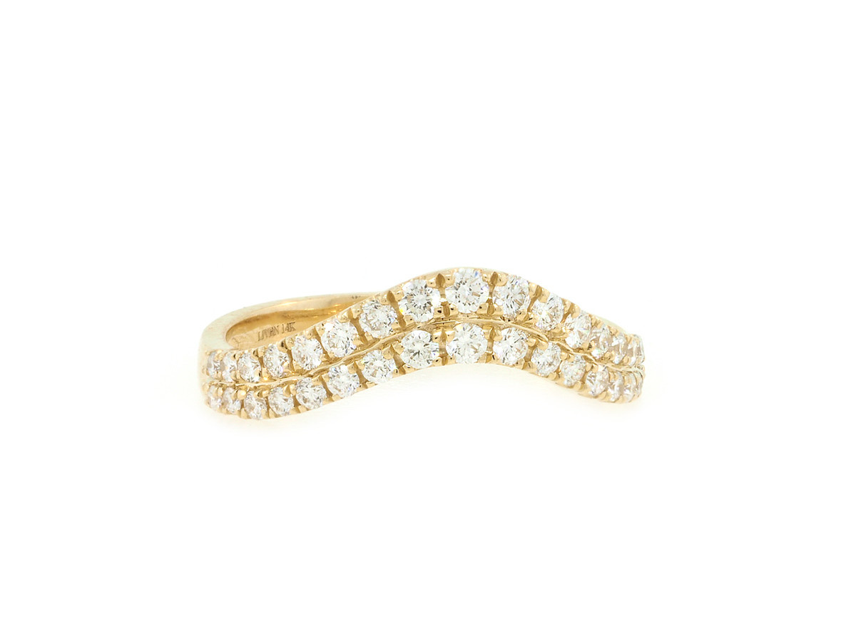Liven Double Arch Diamond Pave Yellow Gold Ring