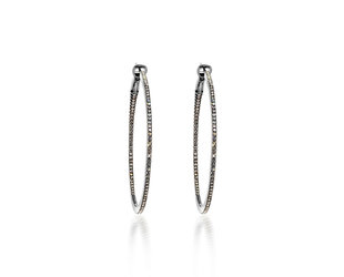 Large Diamond Black Hoop Earrings DL24