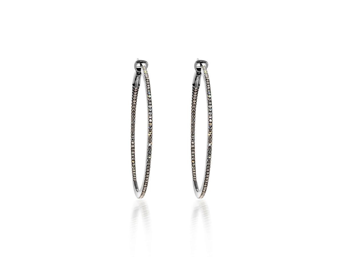 Dilamani Large Diamond Black Hoop Earrings