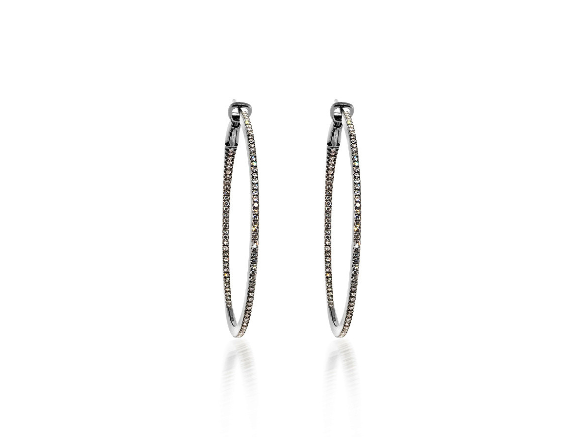 Large Diamond Black Hoop Earrings