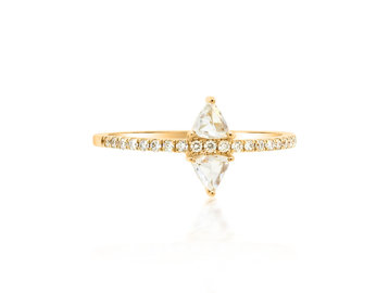 Dilamani Rose Cut Diamond Triangle Yellow Gold Ring DL29