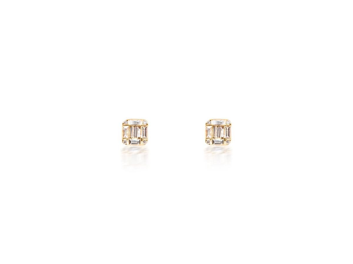 Diamond Baguette Rose Gold Earrings
