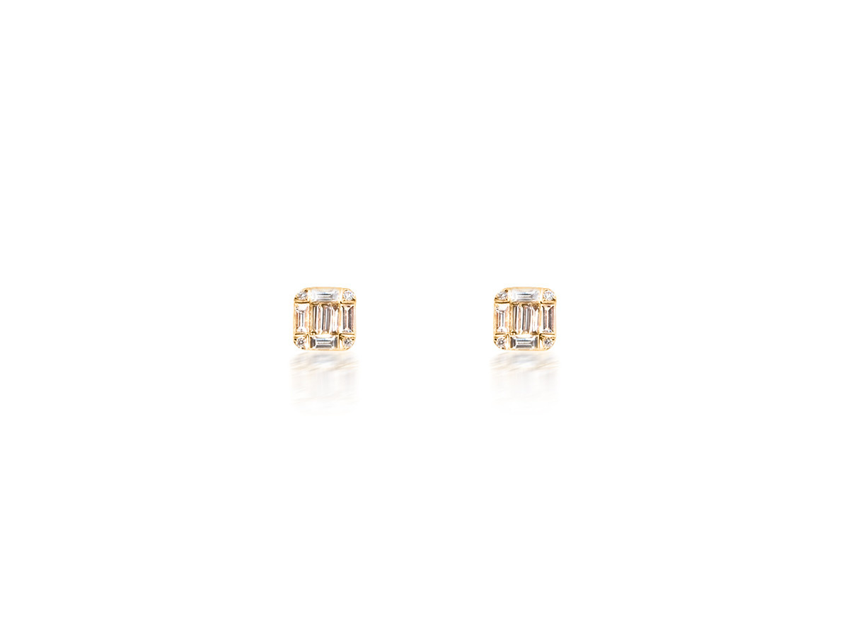 Dilamani Diamond Baguette Rose Gold Earrings