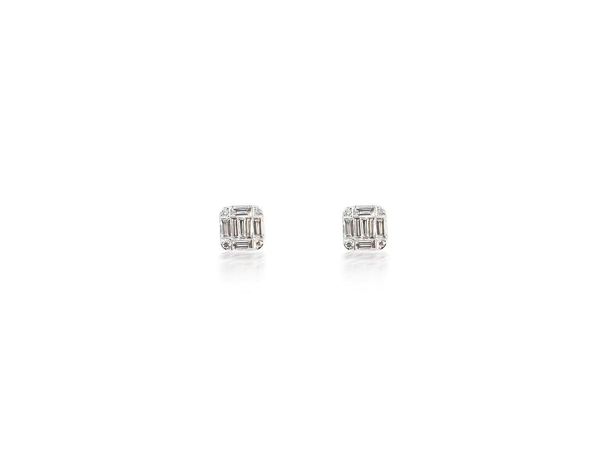 Dilamani Diamond Baguette White Gold Earrings