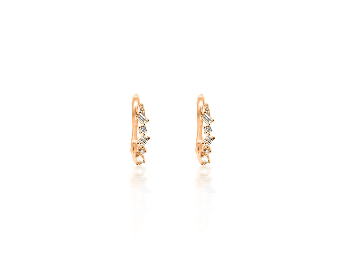 Dilamani Mini Baguette Diamond Rose Gold Hoop Earrings