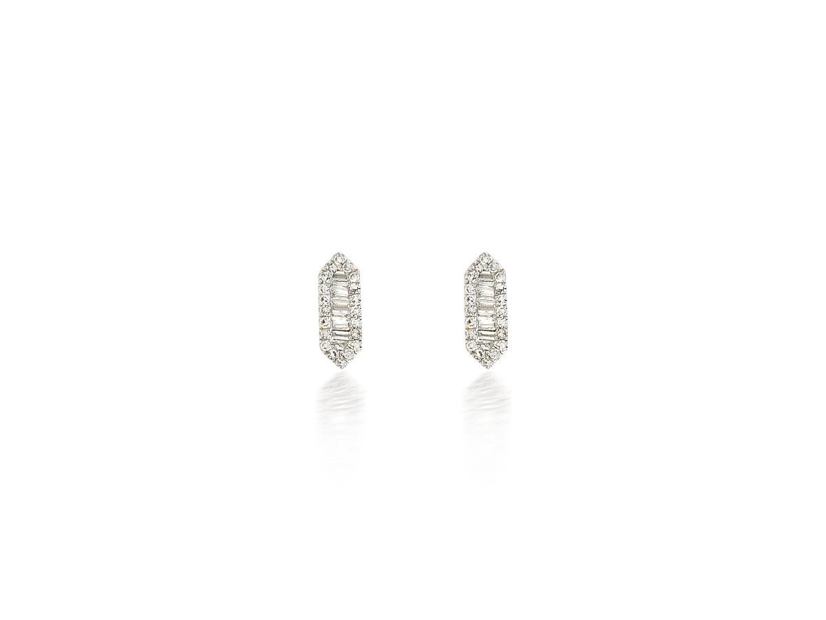 Diamond Elongated Hexagon White Gold Earrings