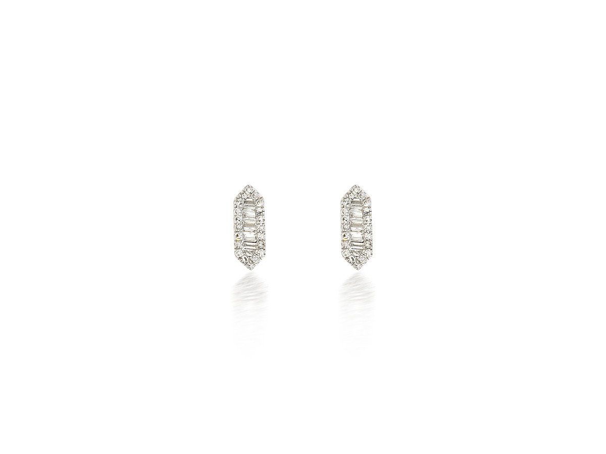 Dilamani Diamond Elongated Hexagon White Gold Earrings