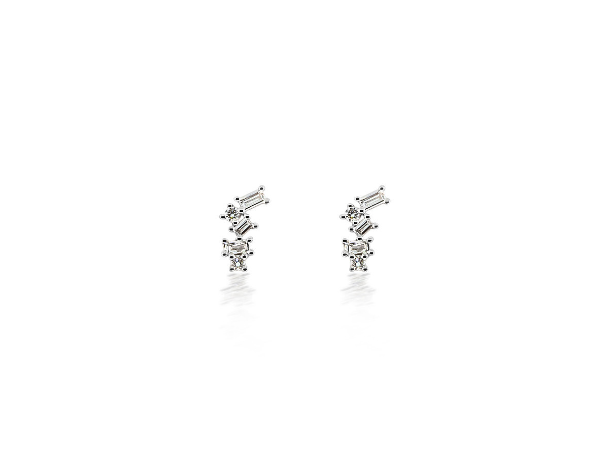 Dilamani Scattered Baguette And Round Diamond White Gold Earrings