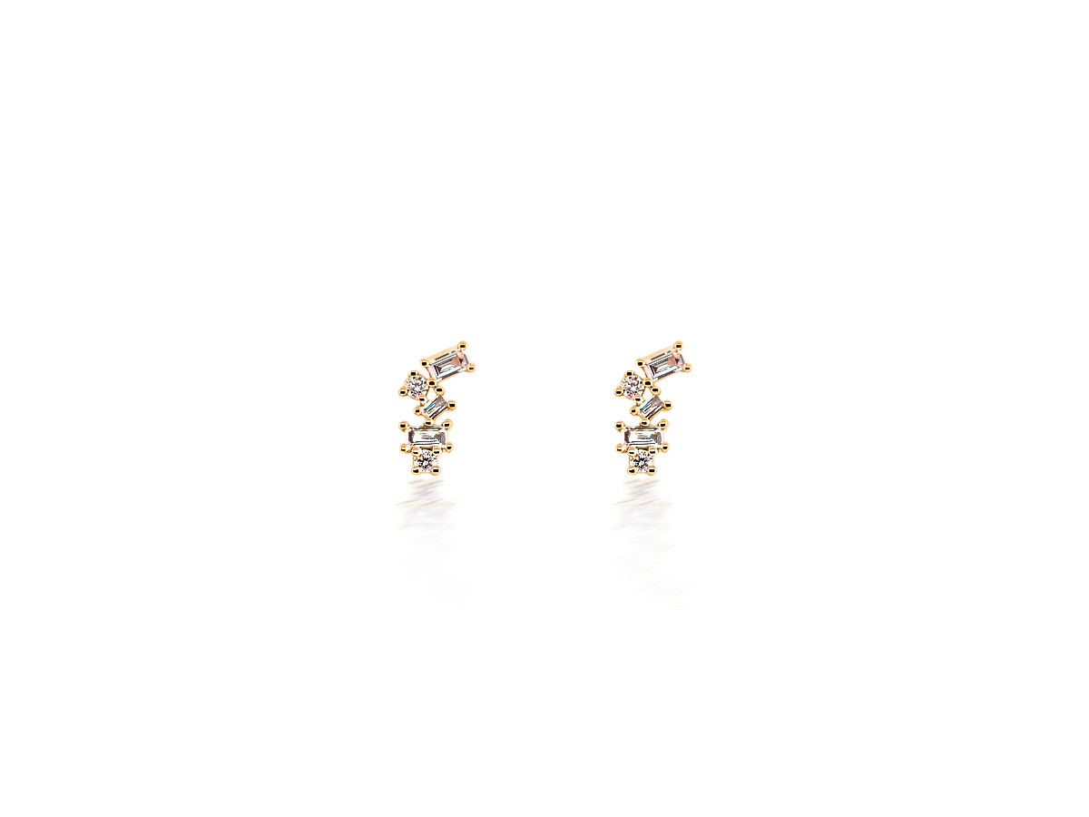 Dilamani Scattered Baguette And Round Diamond Rose Gold Earrings