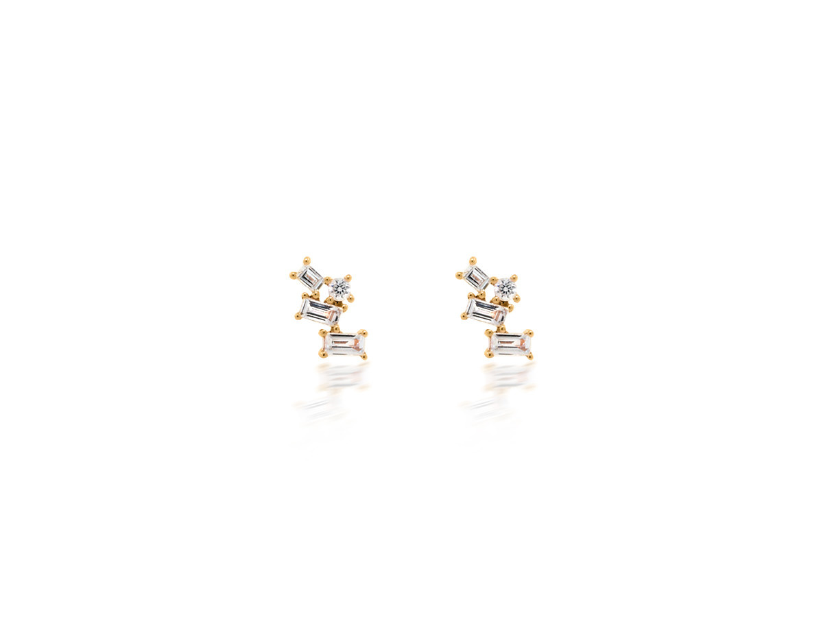 Dilamani Diamond Baguette Pivoting Stud Rose Gold Earrings