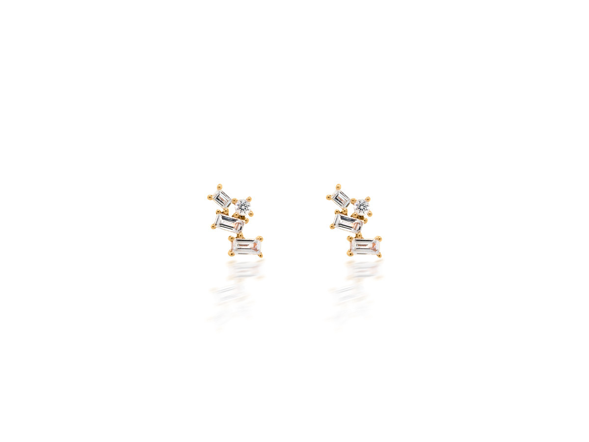 Dilamani Diamond Baguette Pivoting Stud Yellow Gold Earrings