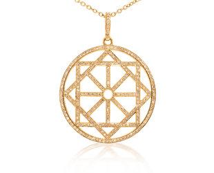 Trabert Goldsmiths Geometric Diamond Rose Gold Pendant E1917