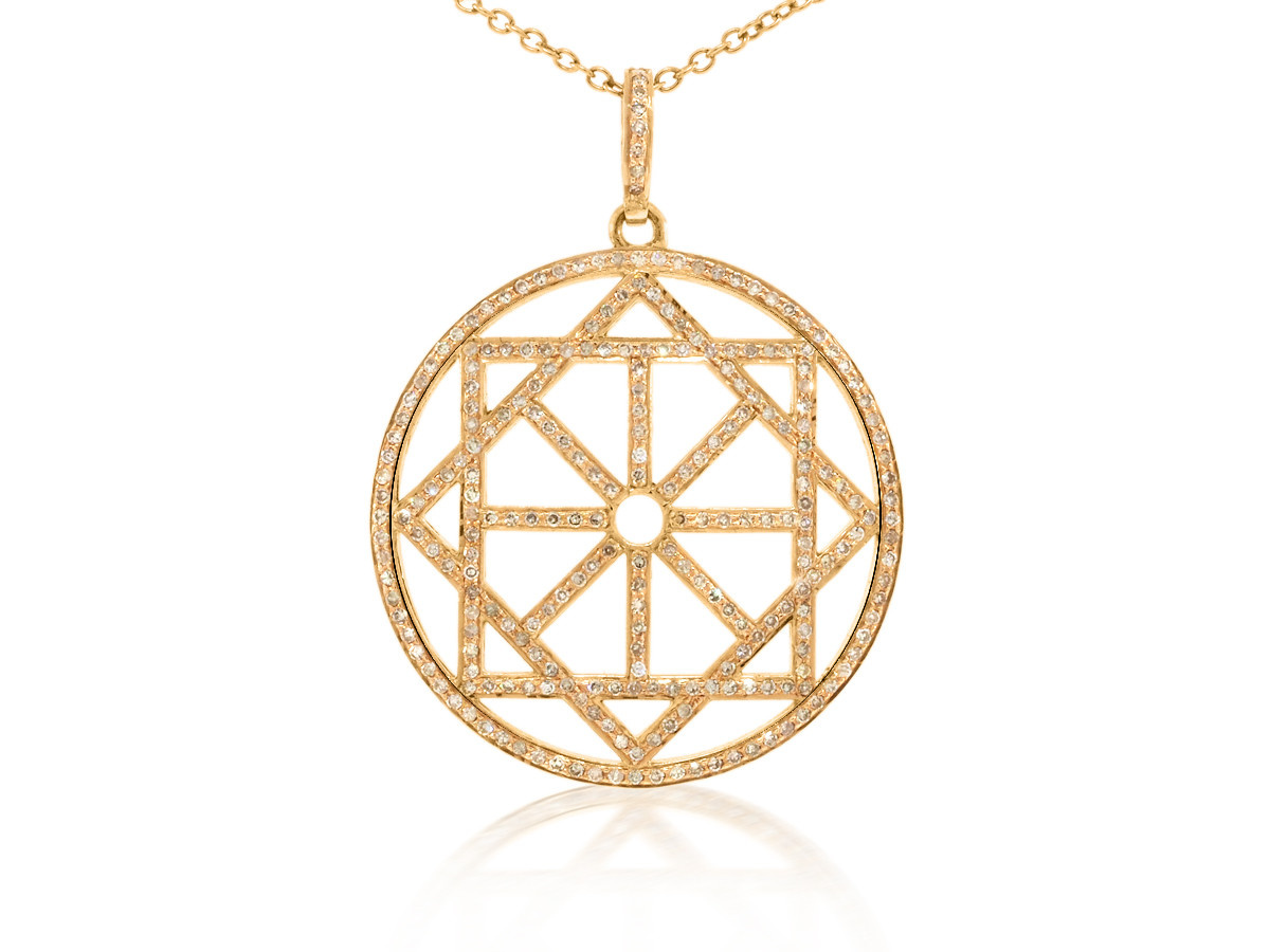 Geometric Diamond Rose Gold Pendant