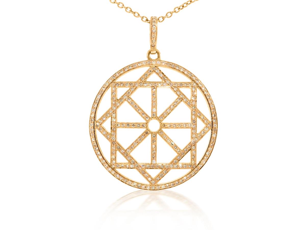 Trabert Goldsmiths Geometric Diamond Rose Gold Pendant