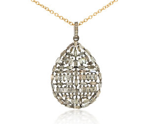 Trabert Goldsmiths Sterling Silver Diamond Baguette Teardrop Pendant E1919
